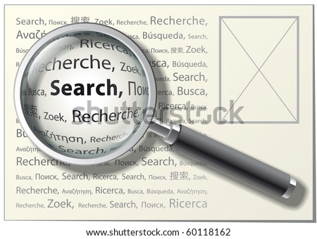 """Magnifying Glass. With """"Search"""" Word on Different Languages. Vector Illustration - stock vector"""