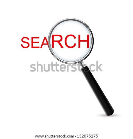 Magnifying glass with search word on white background - stock vector