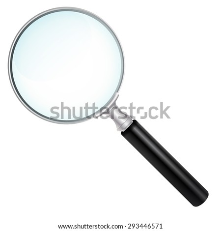 Magnifying Glass With Transparent Glass Effect- Isolated on White Background Without Shadow - stock vector