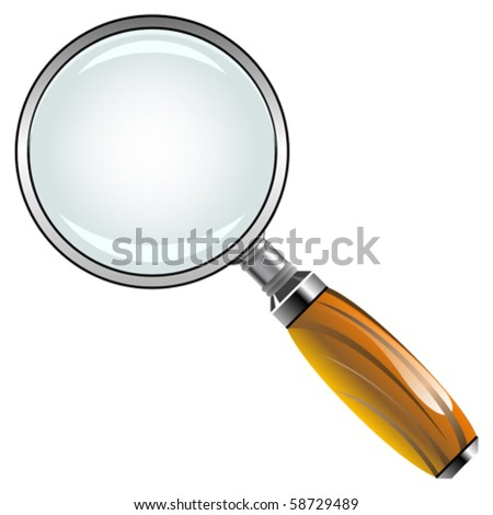 magnifying glass with wooden handle against white background, abstract vector art illustration - stock vector