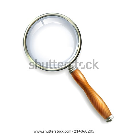 Magnifying glass with wooden handle isolated on white background vector illustration - stock vector