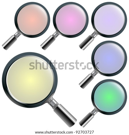 magnifying glasses against white background; abstract vector art illustration; image contains transparency - stock vector