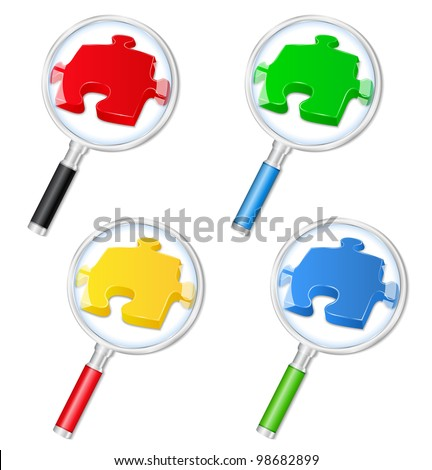 Magnifying glasses with puzzle pieces, vector eps10 illustration - stock vector