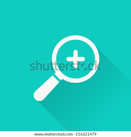 magnifying icon , vector illustration, flat design - stock vector