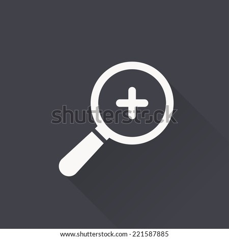 magnifying zoom icon , vector illustration, flat design - stock vector