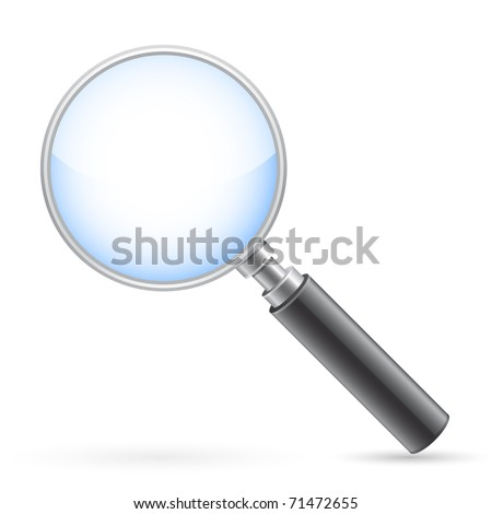 Magnigying glass on white with shadow. Vector illustration. All elements are separate. File is layered.