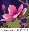 magnolia flower / Stained glass window - stock photo