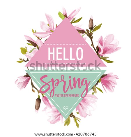 Magnolia Flowers and Leaves Background. Graphic Design. Vector. T-shirt Fashion Graphic.  - stock vector