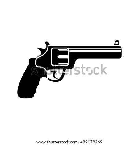magnum revolver black simple icon. Vector. Flat style for web and mobile.