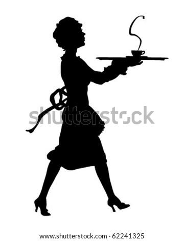 Maid Silhouette - Retro Clipart Illustration - stock vector