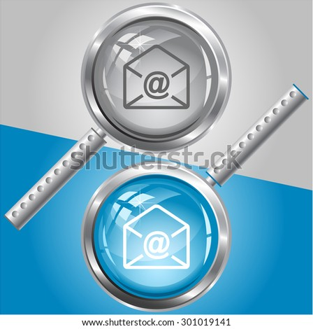 mail at-sign. Vector magnifying glass. - stock vector