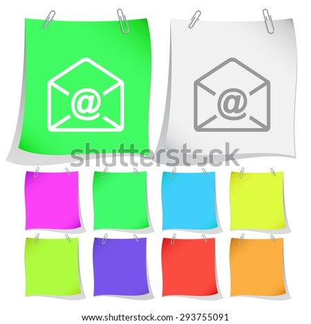 mail at-sign. Vector note papers. - stock vector