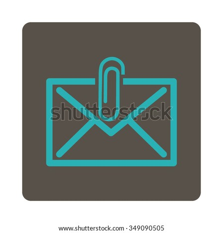 Mail Attachment vector icon. Style is flat rounded square button, cyan and grey colors, white background. - stock vector