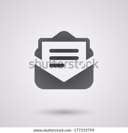 mail black icon with shadow. technology background - stock vector