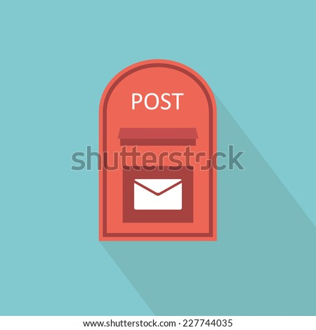 Mail box icon. Flat design. Vector illustration - stock vector