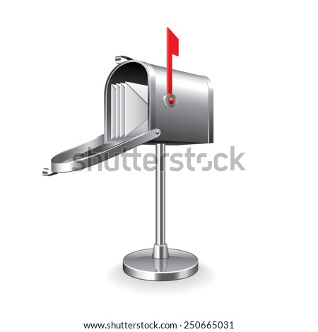 Mail box isolated on white photo-realistic vector illustration - stock vector