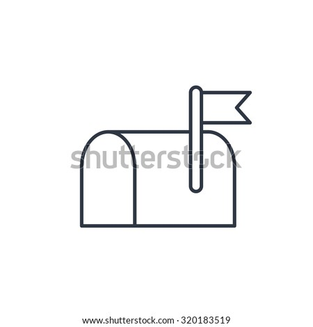 Mail box outline icon  - stock vector