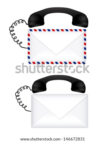 mail call over white background vector illustration - stock vector