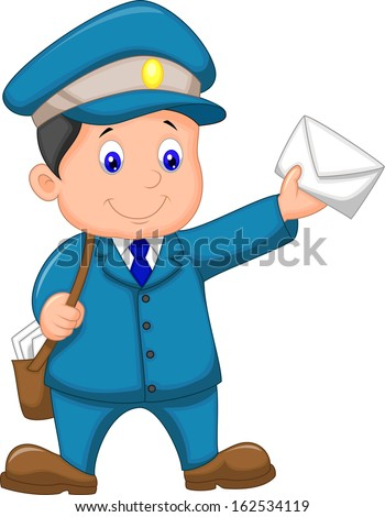 Mail carrier with bag and letter - stock vector