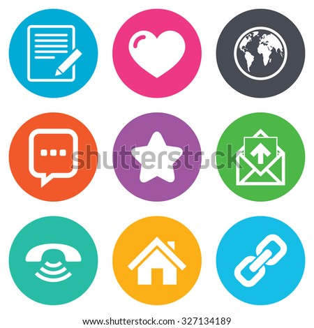 Mail, contact icons. Favorite, like and internet signs. E-mail, chat message and phone call symbols. Flat circle buttons. Vector - stock vector