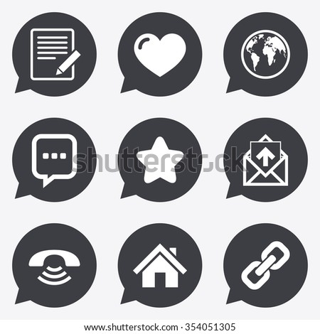 Mail, contact icons. Favorite, like and internet signs. E-mail, chat message and phone call symbols. Flat icons in speech bubble pointers. - stock vector