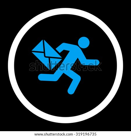 Mail courier vector icon. This rounded flat symbol is drawn with blue and white colors on a black background. - stock vector