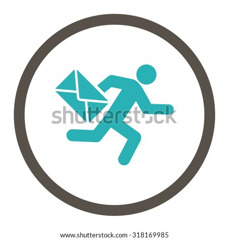 Mail courier vector icon. This rounded flat symbol is drawn with grey and cyan colors on a white background. - stock vector