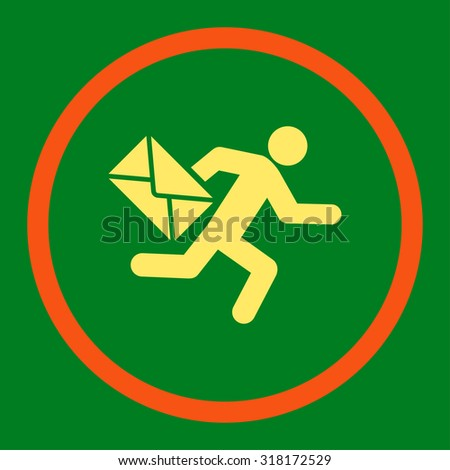 Mail courier vector icon. This rounded flat symbol is drawn with orange and yellow colors on a green background. - stock vector