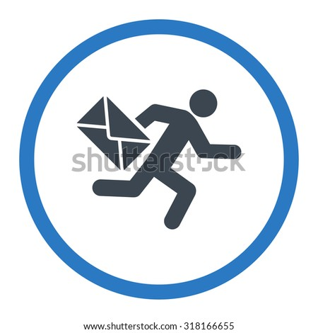 Mail courier vector icon. This rounded flat symbol is drawn with smooth blue colors on a white background. - stock vector