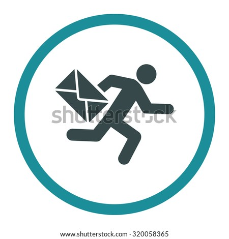 Mail courier vector icon. This rounded flat symbol is drawn with soft blue colors on a white background. - stock vector