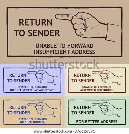 Mail Delivery Stamp Return Sender Stock Vector Royalty Free