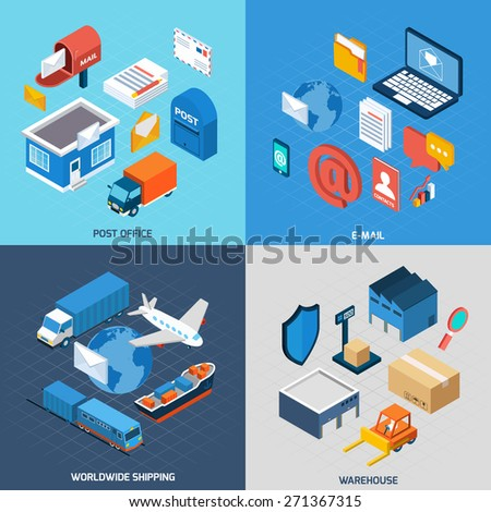 Mail design concept set with post office e-mail worldwide delivery and warehouse isometric icons isolated vector illustration - stock vector