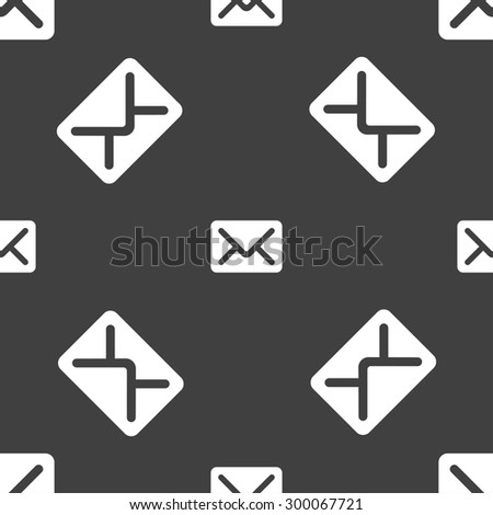 Mail, envelope, letter icon sign. Seamless pattern on a gray background. Vector illustration - stock vector