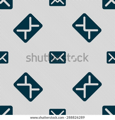 Mail, envelope, letter icon sign. Seamless pattern with geometric texture. Vector illustration - stock vector