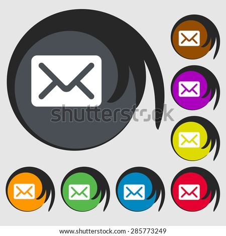 Mail, envelope, letter icon sign. Symbol on eight colored buttons. Vector illustration - stock vector