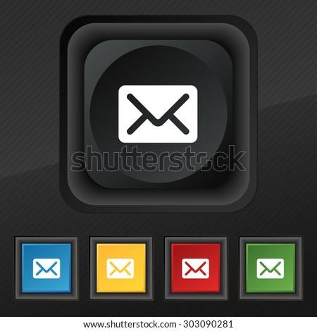 Mail, envelope, letter icon symbol. Set of five colorful, stylish buttons on black texture for your design. Vector illustration - stock vector