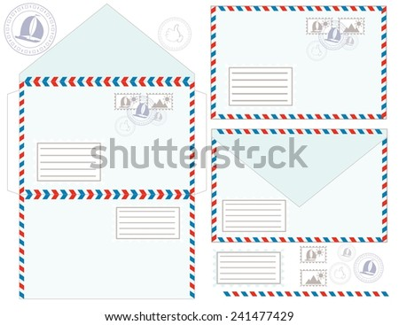 Mail Envelope, Stickers And Stamps And Postcard. - stock vector