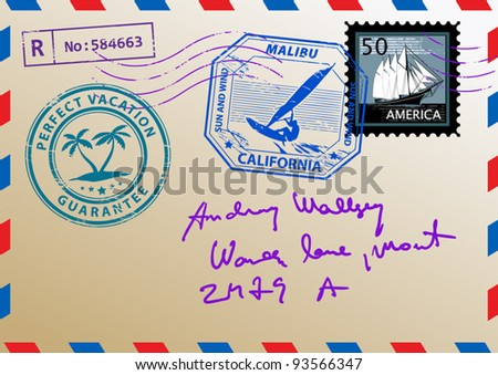 Mail envelope with stamps and letters, vector illustration - stock vector