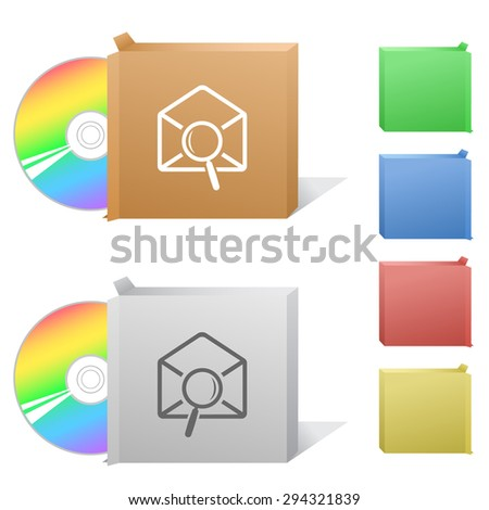 mail find. Box with compact disc. - stock vector