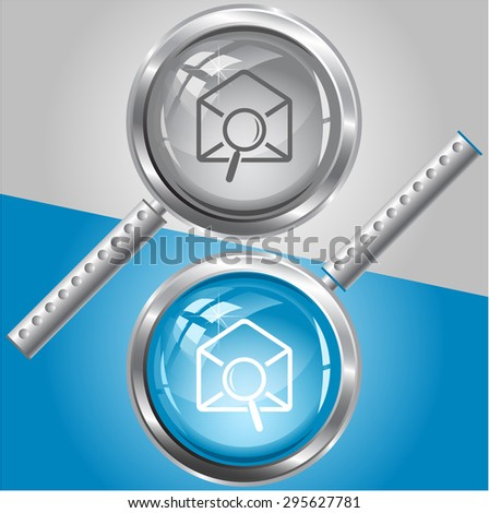 mail find. Vector magnifying glass. - stock vector