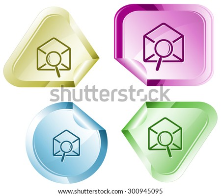 mail find. Vector sticker. - stock vector