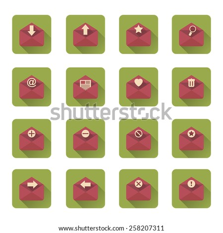 Mail flat icons set with long shadow. Vector illustration - stock vector