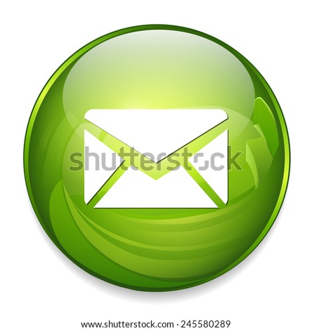 mail icon, envelope button - stock vector