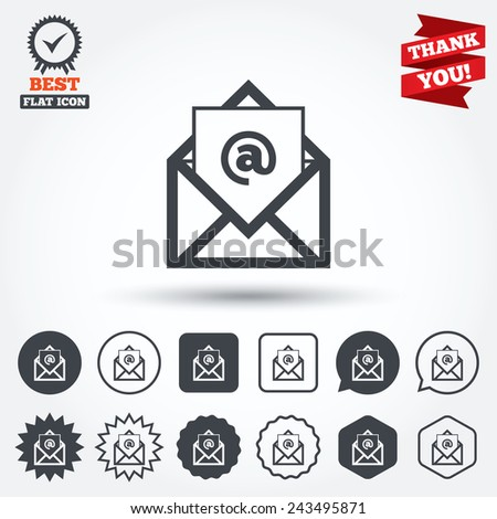 Mail icon. Envelope symbol. Message at sign. Mail navigation button. Circle, star, speech bubble and square buttons. Award medal with check mark. Thank you ribbon. Vector - stock vector