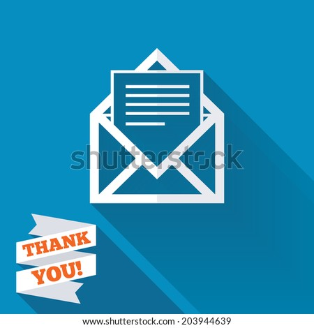 Mail icon. Envelope symbol. Message sign. Mail navigation button. White flat icon with long shadow. Paper ribbon label with Thank you text. Vector - stock vector