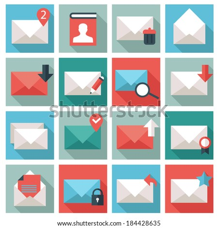 Mail icon set - stock vector