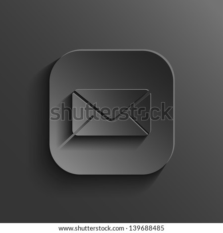 Mail icon - vector black app button with shadow - stock vector