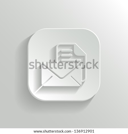 Mail icon - vector white app button with shadow - stock vector
