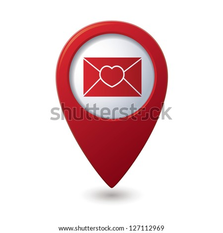 Mail icon with heart on the red map pointer. Vector illustration - stock vector