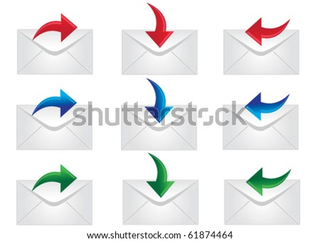 Mail icons to be used on web - stock vector